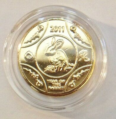 "Awesome 2011 ""Year Of The Rabbit"" Mini Coin Finished in 24 Karat Gold"