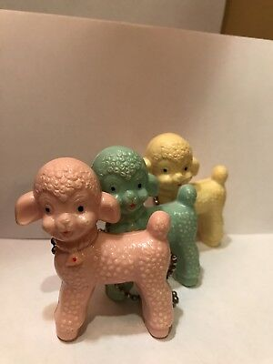 Vintage Plastic Celluloid Lamb / Lambs Teething Ring Rattle Rattler Toy On Chain