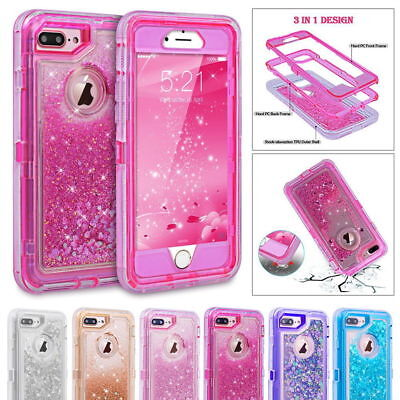 For iPhone 7 8 6s x & Plus Glitter Liquid Defender Case Clip Belt Fits Otterbox