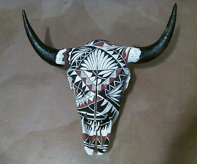 Painted Buffalo Skull Black Red and White Native American Acoma Pottery Design