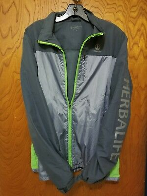 Windbreaker Jacket Coat Herbalife Size Small Unisex Used Grey/Green Free Ship