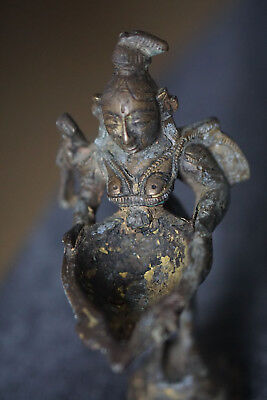 Detailed Indian Antique Hand Crafted Brass Lady Apsara Statue Figurine Very Old