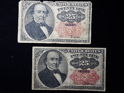 Lot of 2 Fractional Currency 5th Issue 25 Cent Notes Good and Fine