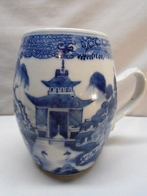 18th c Chinese Export Large Blue and White Tankard