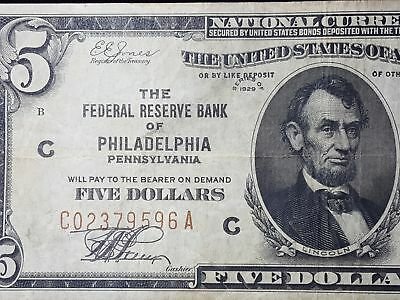 Series 1929 $5 Federal Reserve Bank of Philadelphia National Currency Choice F