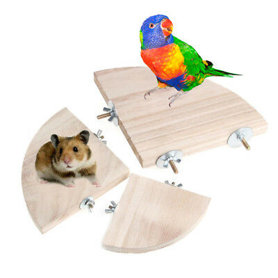 Pet Parrot Wood Platform Stand Rack Toy Hamster Branch Perches For Bird Cage New