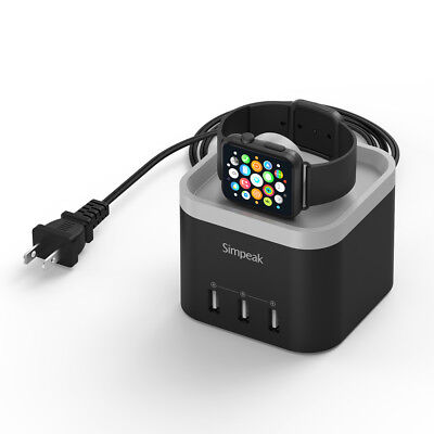 For Apple Watch 1/2/3 , Simpeak 4 Port USB Charger Stand with Phone Holder