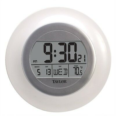 Atomic Digital Wall Clock Self Setting Time Date Indoor Temperature 9.25 Inch