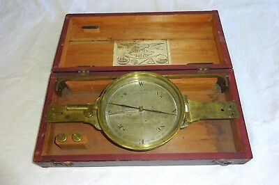 Antique 1775 - 1820 Large Surveying Brass Compass Spencer Co London Original Box