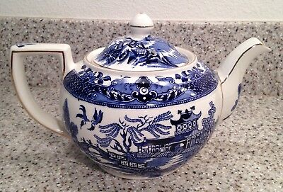 BURLEIGH England BLUE WILLOW Gold Band Pattern LIDDED TEAPOT