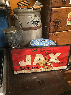 Vintage early Jax Beer Metal sign W/ Bottle and Can Lone Star Pearl Texas
