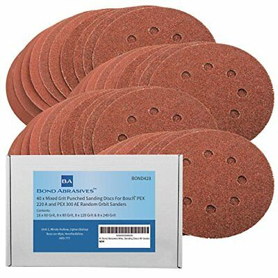 40 Bond Abrasives 125mm Assorted Sanding Discs For Bosch PEX 220/300 ...