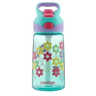 Contigo AUTOSPOUT Striker Kids Straw Water Bottle 14oz Ultramarine Lilies Blue