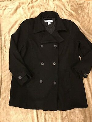 Women's - Old Navy Black Double Breasted Maternity PEA Lined Wool Coat Jacket L