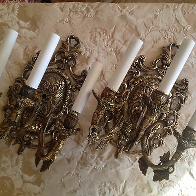 Vintage Gilded Solid Brass Wall Sconces 3 Arm Electric Candle Lamps