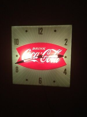 "Vintage 1960's Coca Cola Fishtail Soda Pop 15"" Lighted Pam Clock Sign **WORKS**"