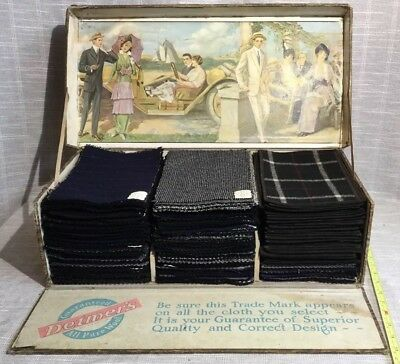 Antique Detmer's 20's Salesman's Fabric Sample Box W/Awesome Graphic Car Print
