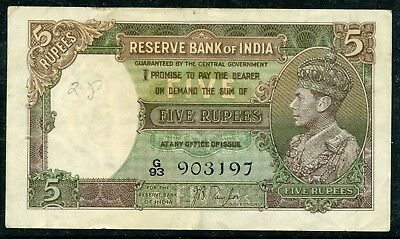 Weeda India 18a 1937 issue KGVI 5 rupees, J.B. Taylor, scarce, see scans