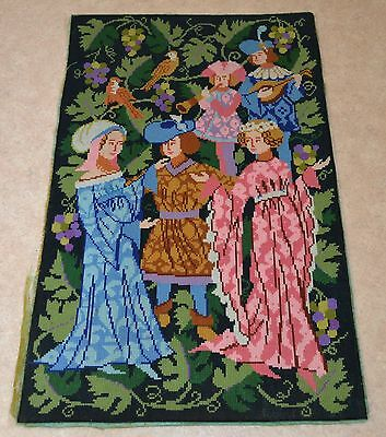 Vintage Large 14th Century Theme People Music Dance Minstrel Women Wool Tapestry