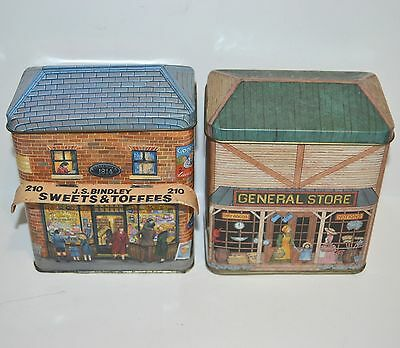 2 Cute Small Biscuit Tin General Store Lolly Shop Retro Vintage & Antique Style