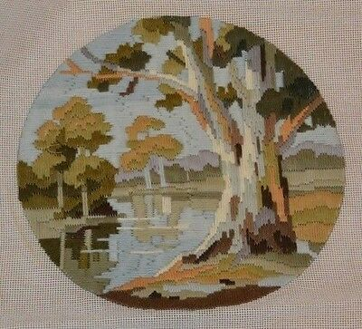 Completed Round Longstich Tree Country River Land Scene Image Size 28cm Diameter
