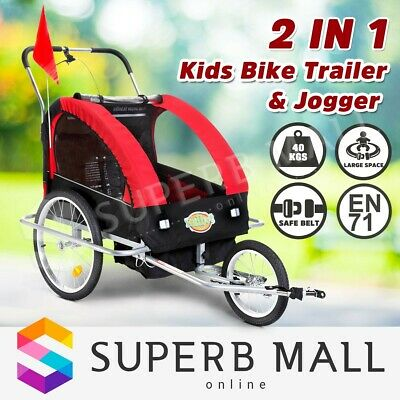Kidbot Kids Bike Trailer Bicycle Pram Stroller Children Jogger 2in1 Red+Black