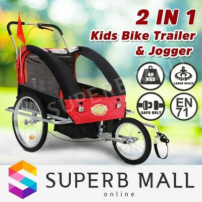 Kidbot Kids Child Bike Trailer Bicycle Pram Stroller Children Jogger 2IN1 BLACK