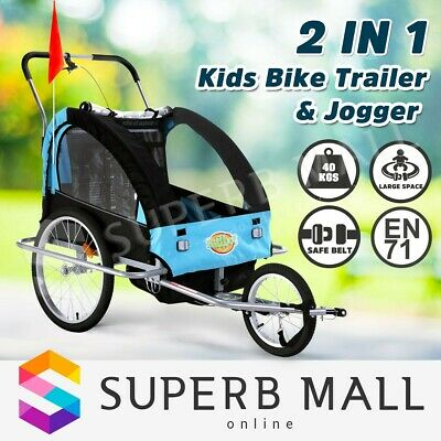 Kidbot Kids Child Bike Trailer Bicycle Pram Stroller Children Jogger 2 IN 1 BLUE