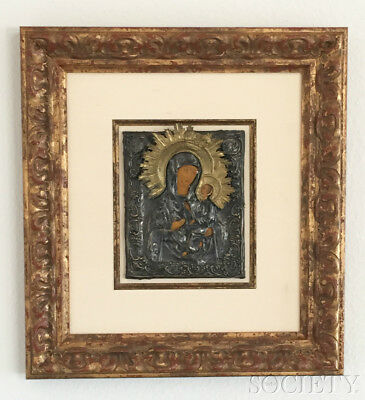 Antique RUSSIAN ICON Riza Oklad Madonna Mary and Child Gilded Frame 19th Century