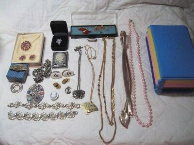 Lot of Estate Vintage Jewelry Mens Earrings Necklaces Bracelets Krementz Cameo
