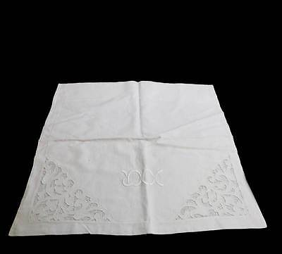 Vintage white linen cutwork embroidered square pillowcase cushion cover 64cm