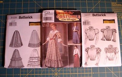 Lot of 3 Gibson Girl Mary Poppins Costume Patterns Dress Skirts Blouses NEW
