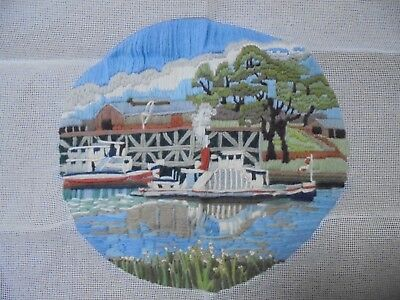 LONG STITCH  Completed.  Paddle steamer.    28 cm  diametre