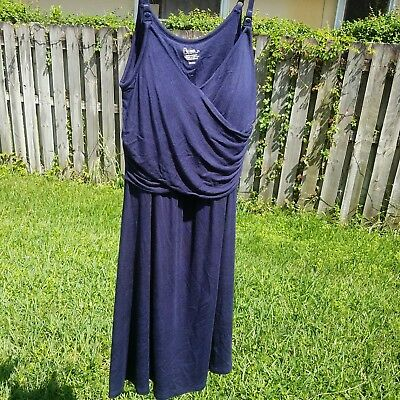 Bump in the Night Nursing Maternity Nightgown Size Smalll Navy Blue