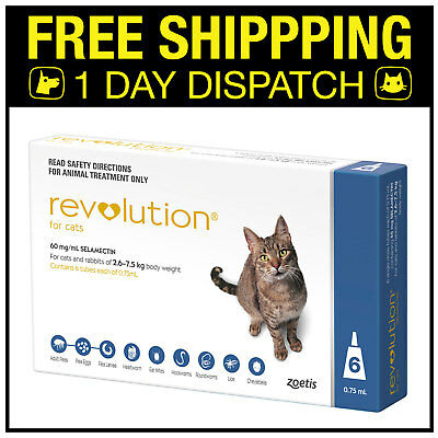 *** PRICE DROP *** Revolution For Cats 2.6-7.5kg Blue 6 Pack