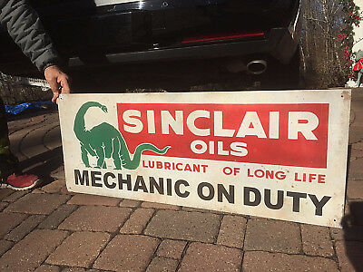 Vintage Sinclair Oil Mechanic on Duty Gasoline Metal Sign Gas W/ Dino 41X16in