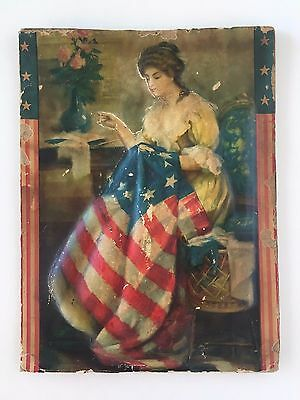 RARE Primitive/Antique Betsy Ross Sewing American Flag Embossed Picture