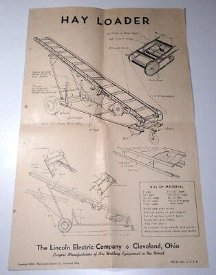 Vintage 1950s 1950 Lincoln Hay Loader Advertising Poster X Mas Gift For Grandpa