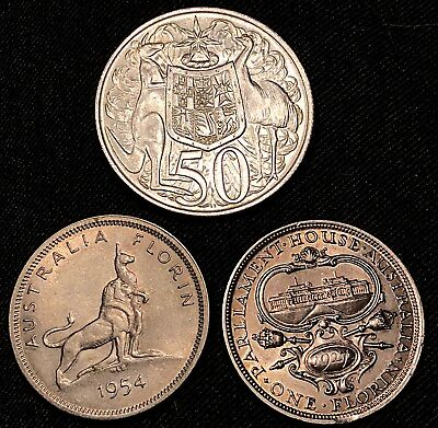 Australia 1927 1954 Florin 1966 50 Cents Interesting Silver Lot 35.8g