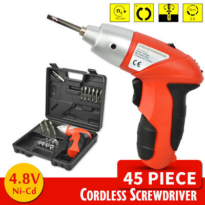 45 Pieces Cordless Screwdriver Drill Driver Set Rechargeable Electric Drill 4.8V