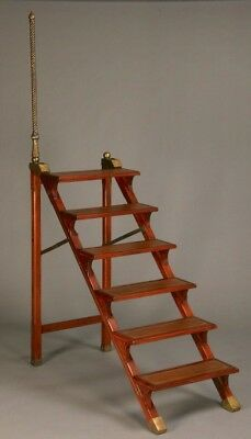 REDUCED  Mahogany & Brass Inlaid Library Steps  Stairs Ladder w/ Handle