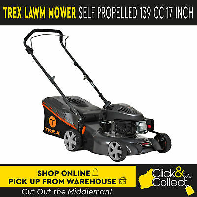 "TREX Hand Push Lawn Mower 4 Stroke 139cc 17"" Lawnmower Catch Mulch 2 in 1 PICKUP"