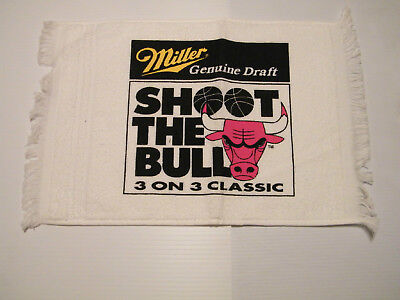 """""""MILLER GENUINE DRAFT"""" SHOOT THE BULL Towel  (3 on 3 Classic) NEVER USED"""