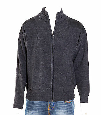 Charcoal Grey Ansett Pure Wool Fisherman Rib Jacket With Black Patches Cardigan