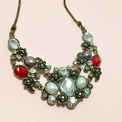 Crystal And Pearl Rose Statement Necklace With Antique Brass Adjustable Chain