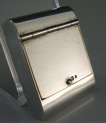QUALITY UNUSUAL SOLID SILVER STAMP BOX / CASE c1940 ANTIQUE PORTUGAL