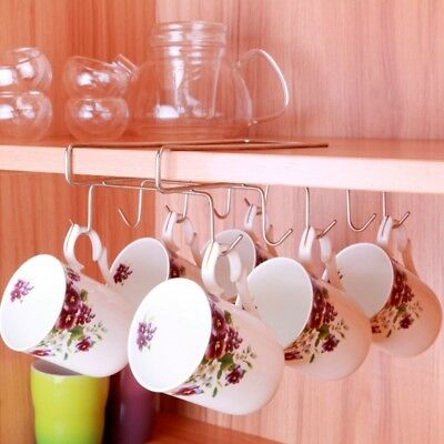 Stainless Steel Rack Cupboard Hanging Coffee Tea Cup Mug Holder Kitchen Shelf