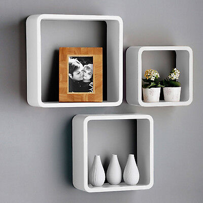 3pc Square Open Box Shelves Floating Wall Shelf Storage Organization White