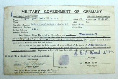 Military Government of Germany - Registrierungskarte Ausweis - 17.05.1945