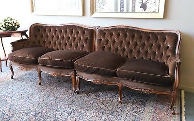Stunning Vintage 4 Seat French Louis Chesterfield Lounge Sofa Couch Lounge Suite